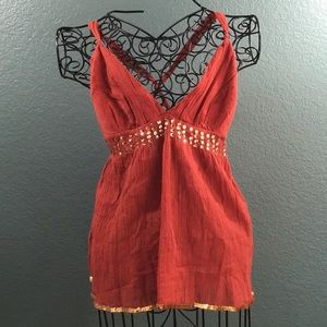 bebe Red Clay Knit Cross Back V-Neck Sequins Top